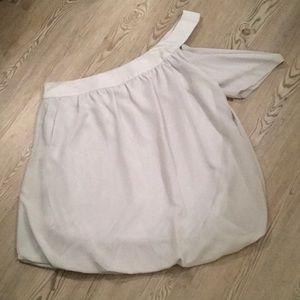 Allegra K gray silk blouse NWOT